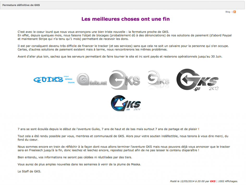 Message de fermeture du forum GKS.gs