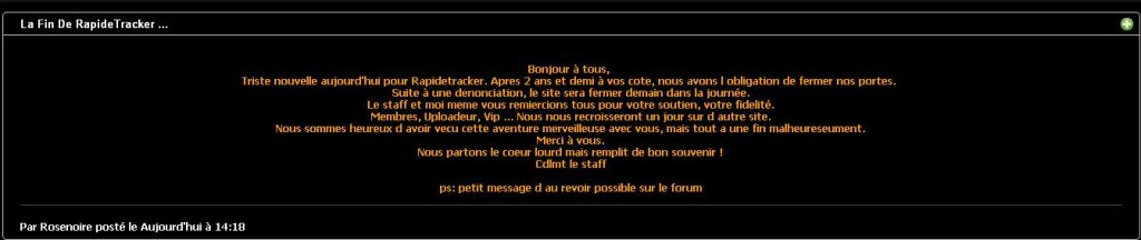 message fermeture rapidetracker
